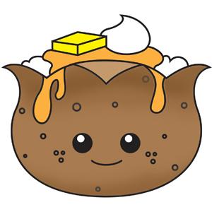 Cartoon baked potatoes